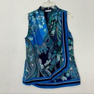 NY&Co. Blue Paisley Scarf Blouse